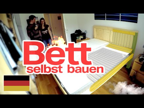 bett selbst gebaut diy deutsch german youtube. Black Bedroom Furniture Sets. Home Design Ideas