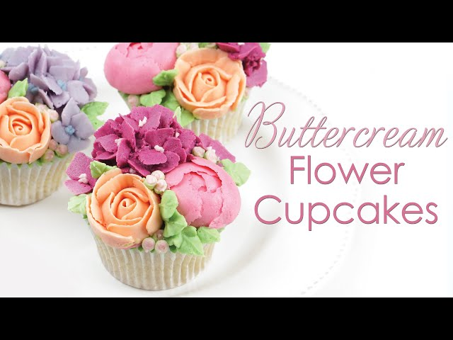 How to Pipe Buttercream Flower Bouquet Cupcakes - Roses, Peonies & Hydrangea Piping Techniques