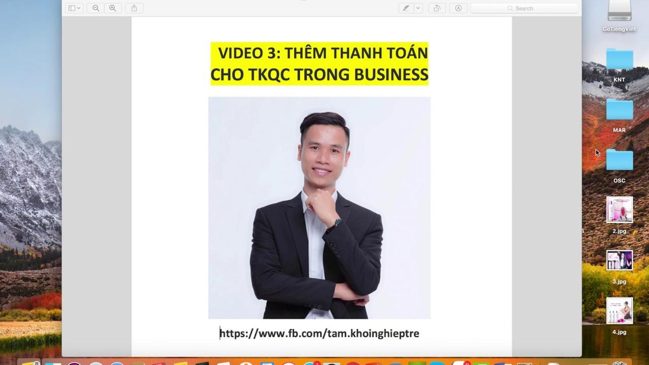 SERIES SỞ HỮU HÀNG NGHÌN TK ADS – Video 3: Thêm thanh toán cho doanh nghiệp mới được tạo ra