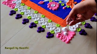 Simple rangoli using fork for new year l New year special rangoli design l rangoli designs kolam