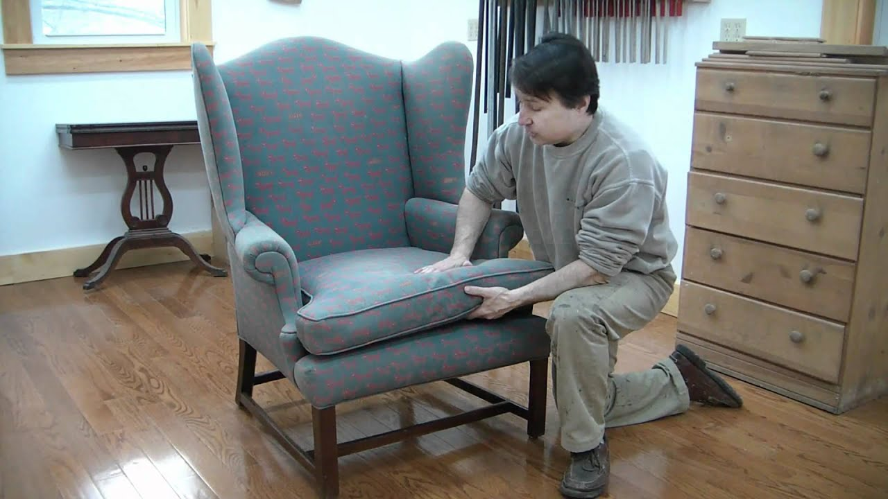 How To Recover A Sofa Chair Modern Office Reupholster Wing Pt 1 Evaluation Youtube