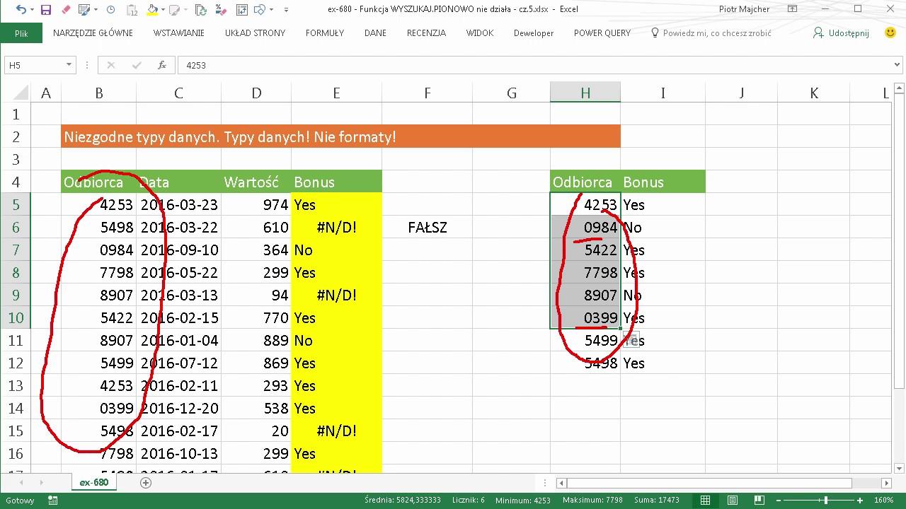 Excel 680 Funkcja Wyszukajpionowo Nie Działa Cz56 Youtube