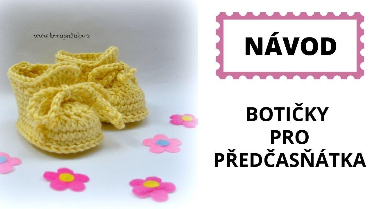 Botičky pro předčasňátka Free crochet preemie booties pattern - YouTube c2c26c72b09