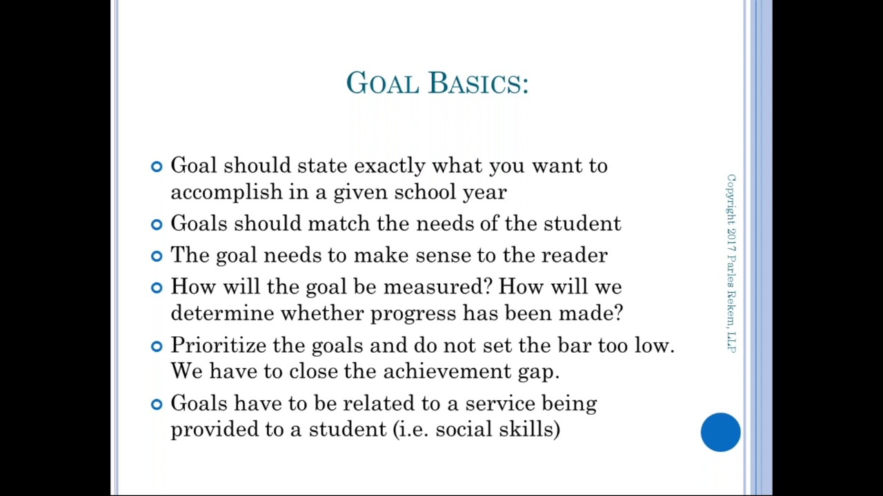 WEBINAR: Goals, Goals, Goals...What Drives the IEP?