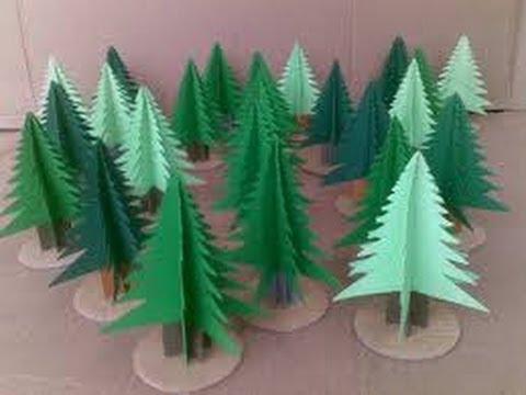 Como hacer arbolitos de papel manualidades para ni os - Manualidades para ninos con papel ...