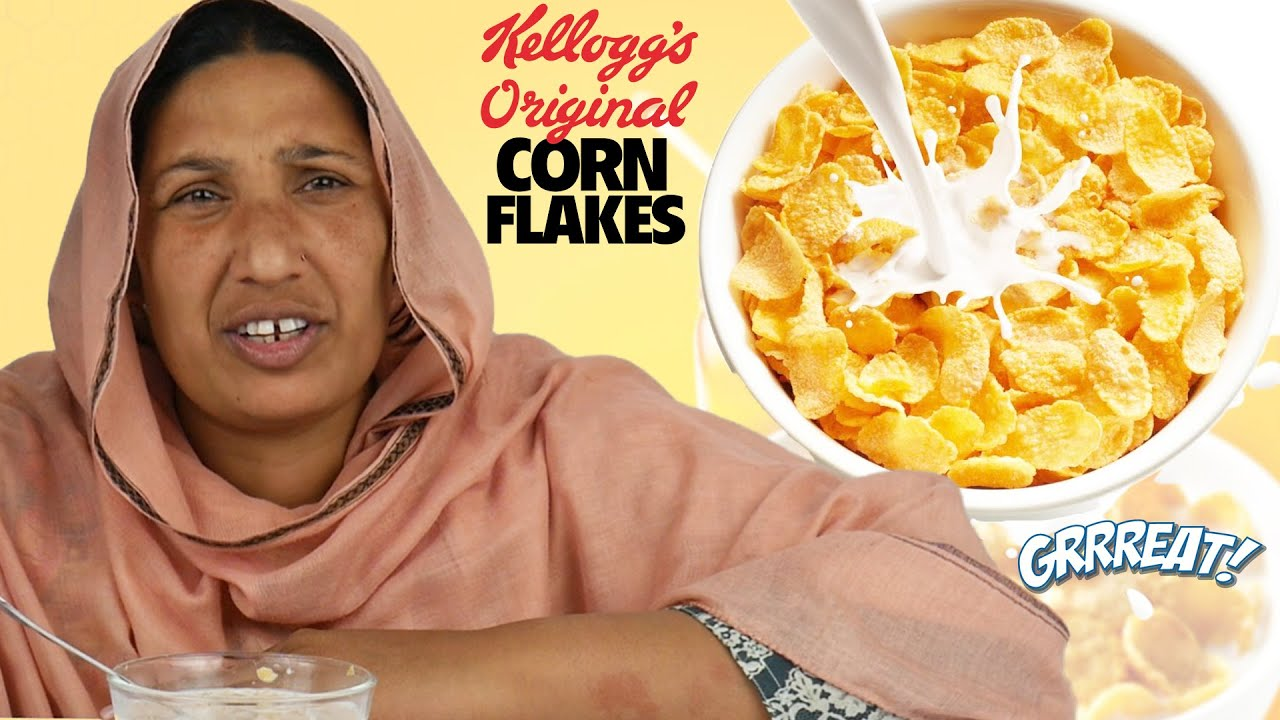 Tribal Women Try Frosted Corn Flakes for the First Time
