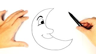 How to Draw a The moon for easy and step by step