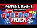 ✔️Minecraft PE - SPIDER-MAN TRICK! {SECRET} // How to sling like a spider! [MCPE]