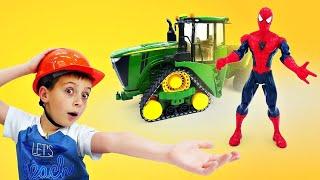 Человек паук сломал грузовик. Машинки спецтехника на стройке - Мультики с машинками