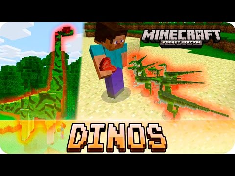 Minecraft PE Addons - 12 NEW DINOSAURS - Jurassic Craft for iOS & Android MCPE 1.0 / 1.0.0