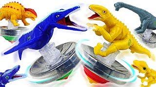 Tiny dinosaur transform into a top! PJ Masks's Dino Mecard dinosaur battle top fight! - DuDuPopTOY