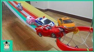 카봇 미끄럼틀 장난감 놀이 ! 자동차 농구 대회 ♡ 헬로카봇 변신 장난감 놀이 Hello carbot car Slide toy | 말이야와장난감 MariAndToys