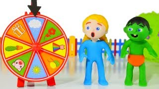 SUPERHERO BABIES PLAY WITH THE WHEEL OF FORTUNE ❤ SUPERHERO PLAY DOH CARTOONS FOR KIDS