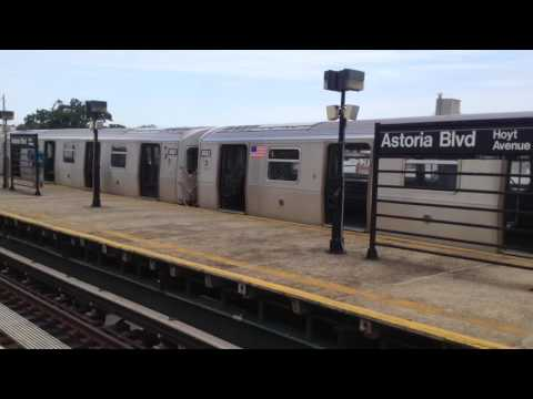 BMT Astoria Line: Manhattan & Ditmars Boulevard Bound R160 (N) (Q) Trains @ Astoria Boulevard
