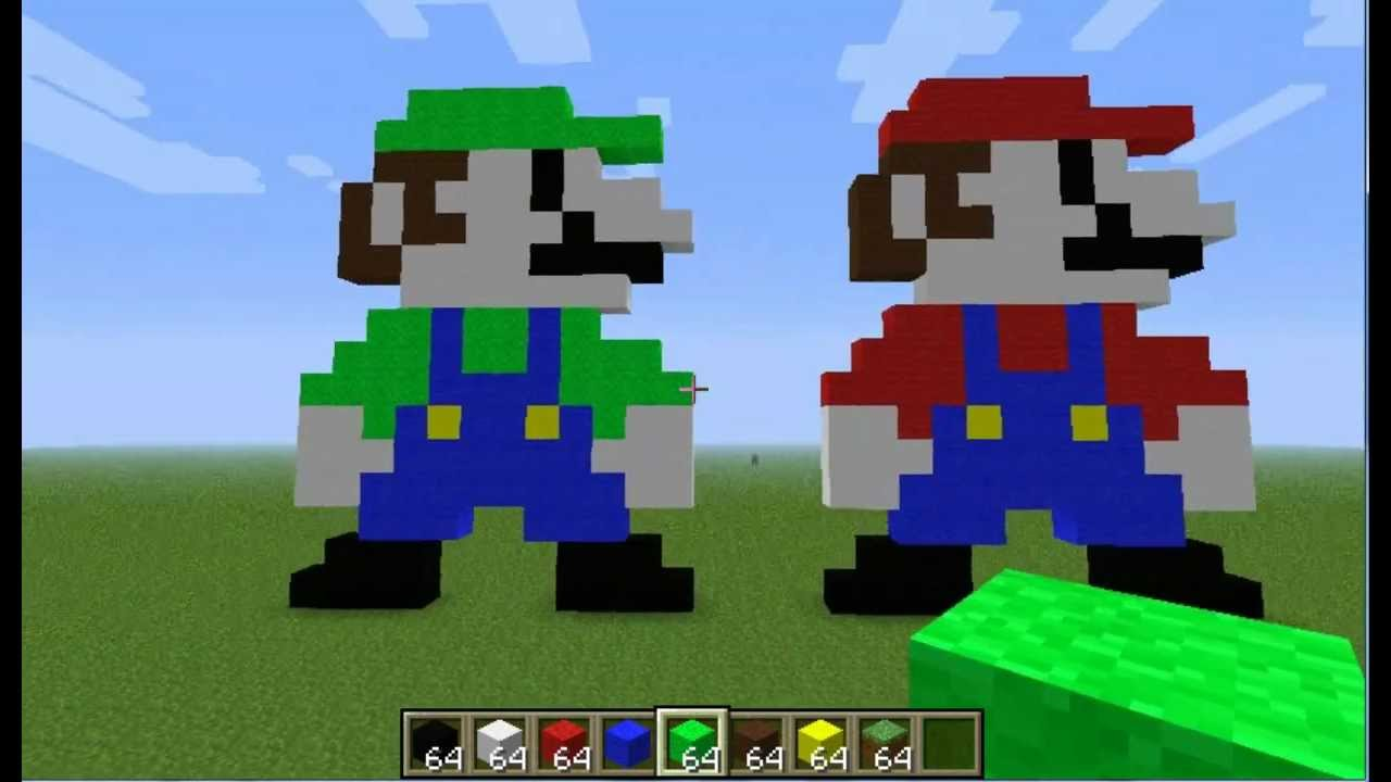 Minecraft Pixel Art Tutorial Mario Luigi