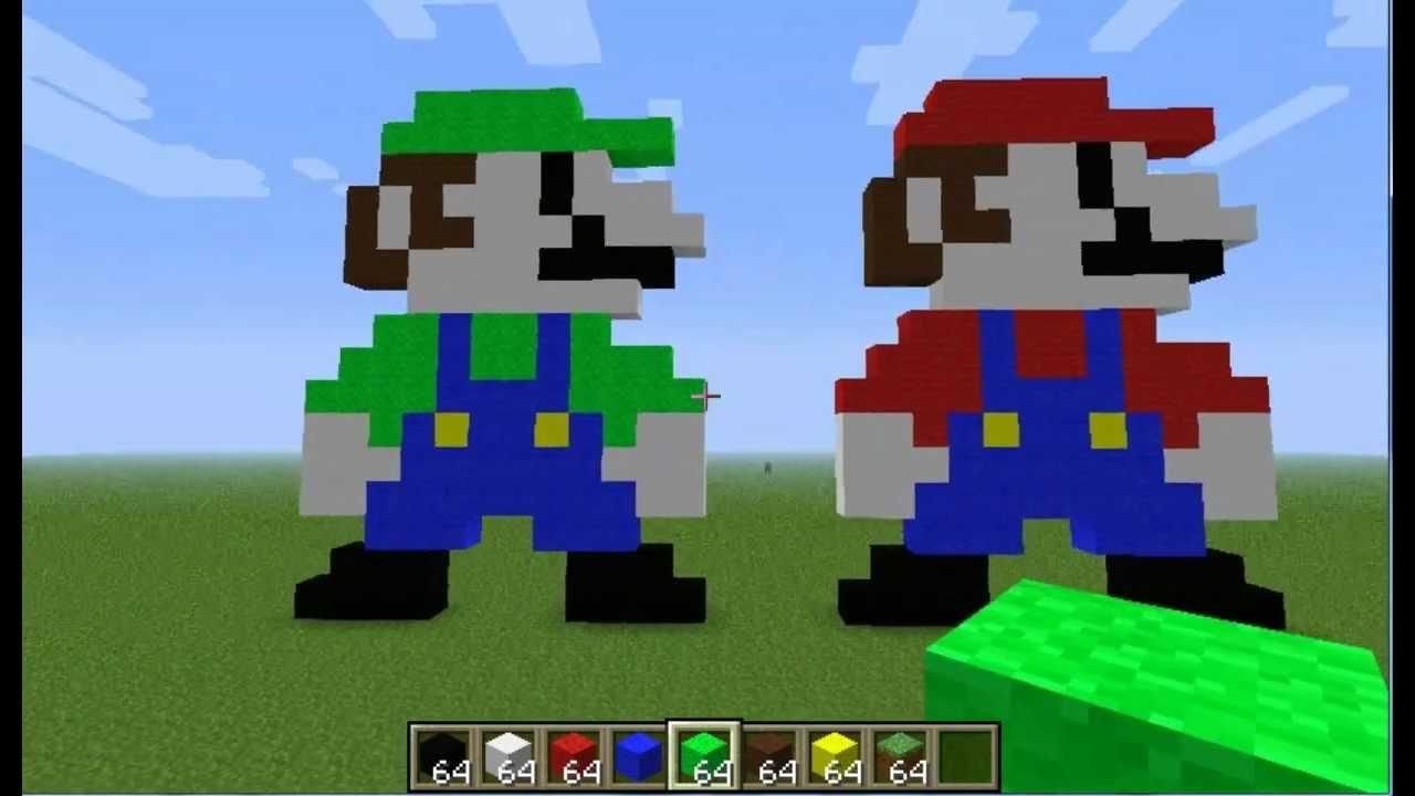 Minecraft Pixel Art Tutorial Mario Luigi Youtube