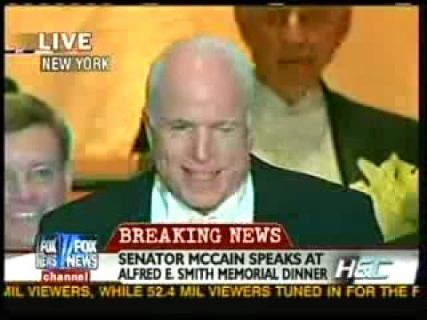 John McCain at the Alfred E Smith Memorial Dinner pt 1