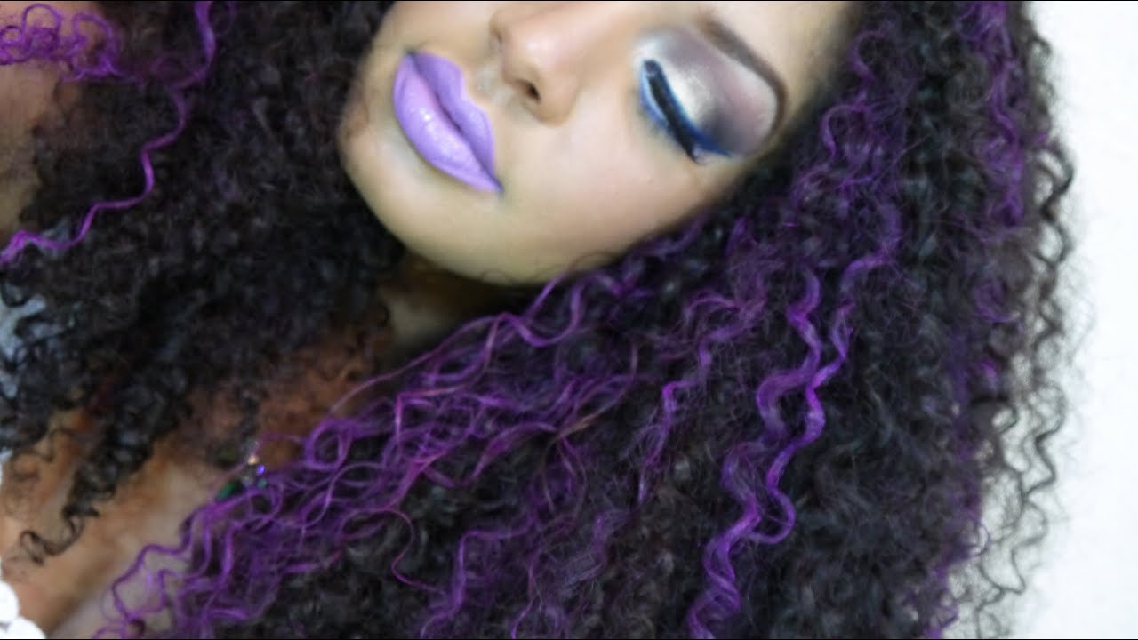 Curly Hair With Purple Highlights