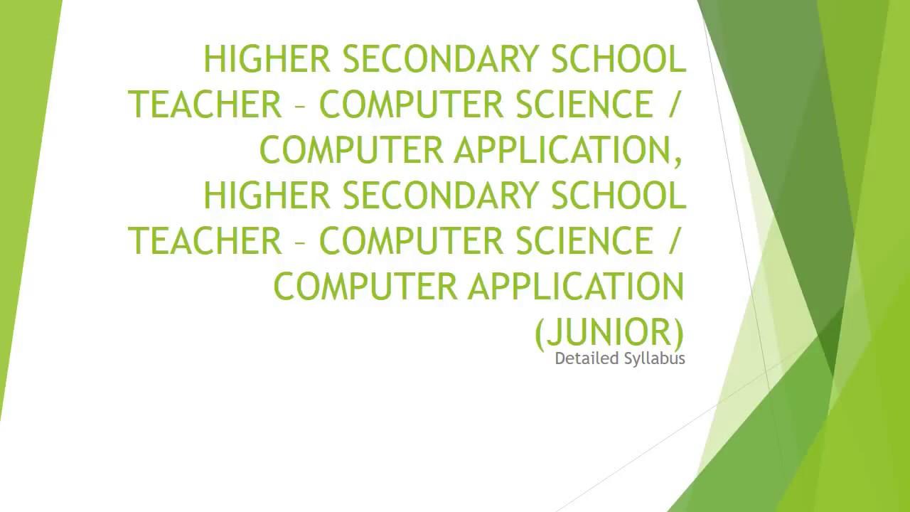KERALA PSC HIGHER SECONDARY SCHOOL TEACHER – COMPUTER SCIENCE