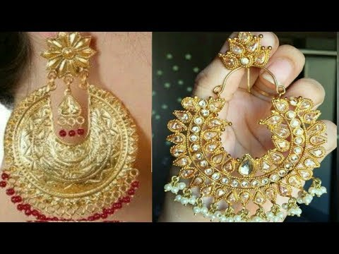 Most styling gold chandbali earring design, beautiful and different look earrings