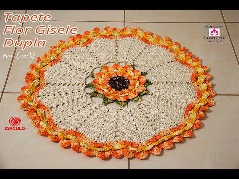 tapete de crochê redondo flor no meio