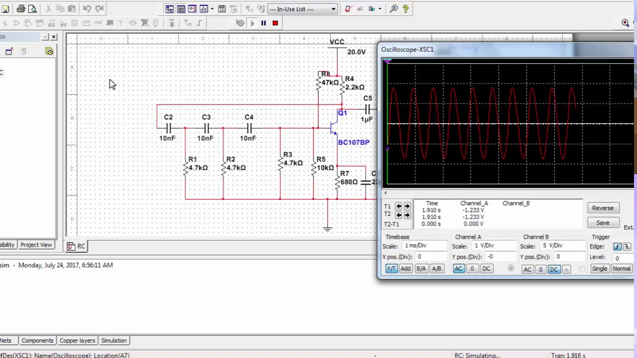 Phase Shift Oscillator Circuit Using Transistor Image