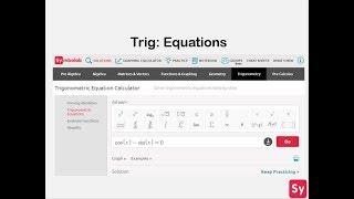 Trig: Solving Equations