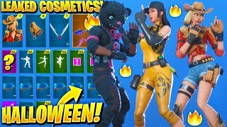 *NEW* All Leaked Chapter 2 Skins & Emotes..! *HALLOWEEN* (Rustler, Outcast, Grim Fable, Snuggs)
