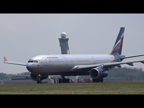Amsterdam Schiphol Airport BIG Aircraft Take Off Polderbaan A340, B747, B777, A330, B767, B757