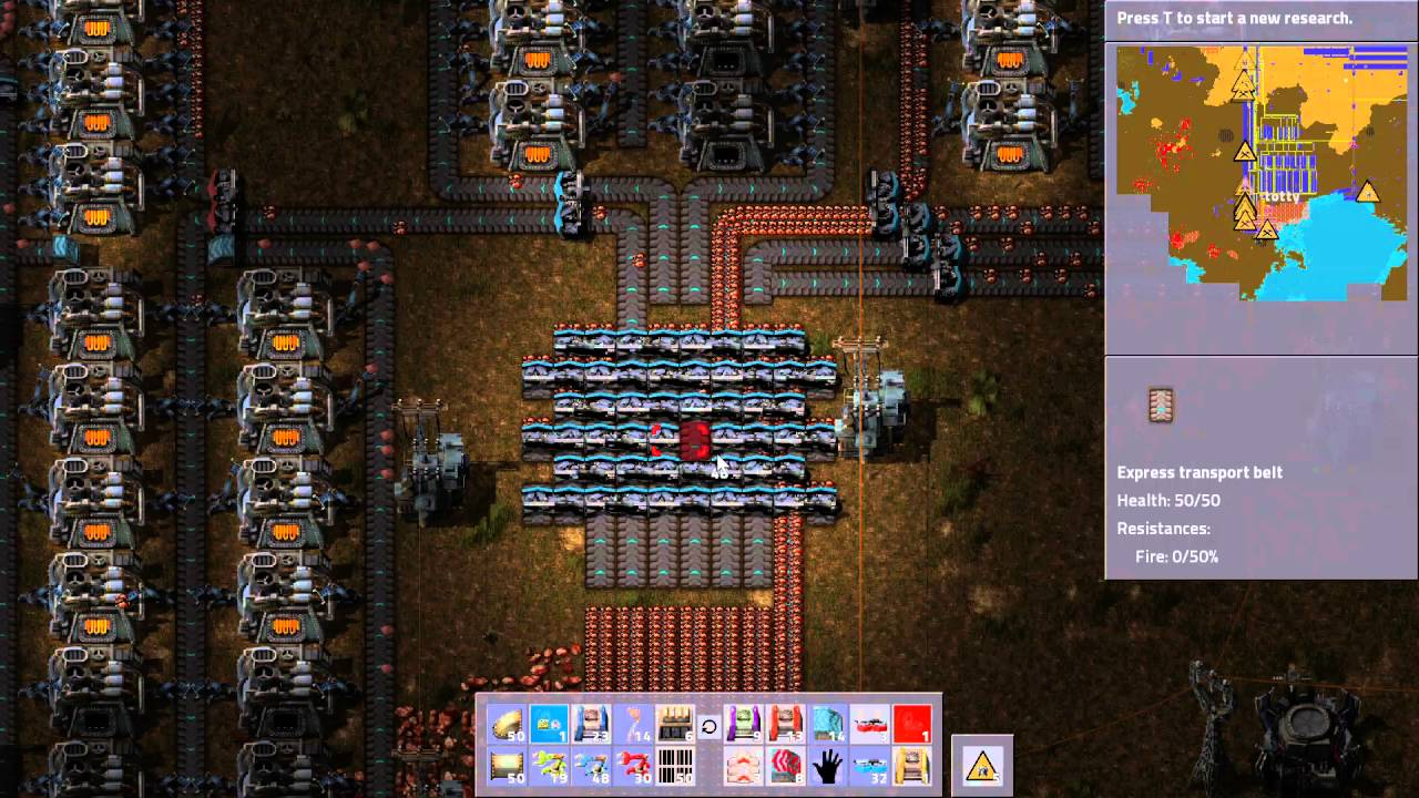 Factorio: Totty's Huge Factory: 7 Lanes massive load balancer with splitters