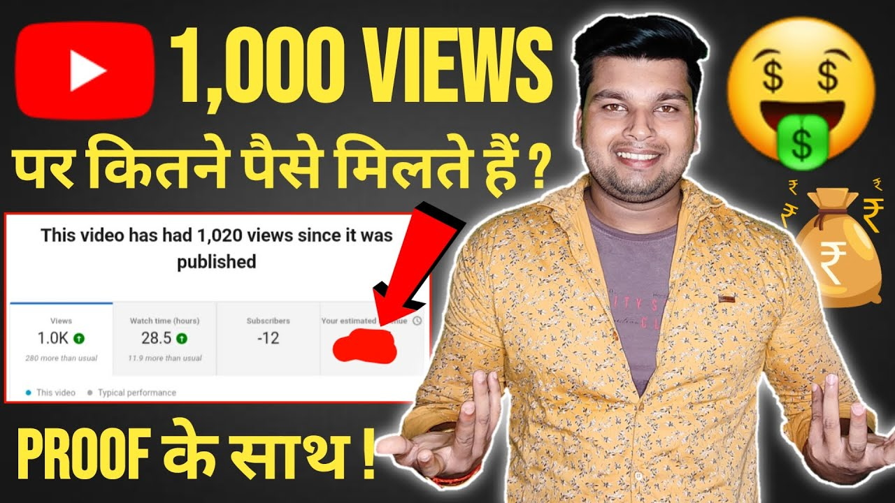 1000 views par kitne paise milte hai | 1000 views how much money on youtube | youtube money per view