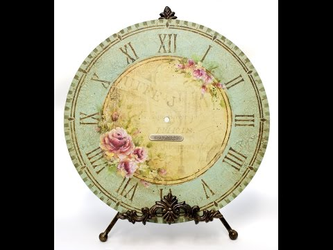 Old French Rose Clock Tole and Decorative Painting by Patricia Rawlinson