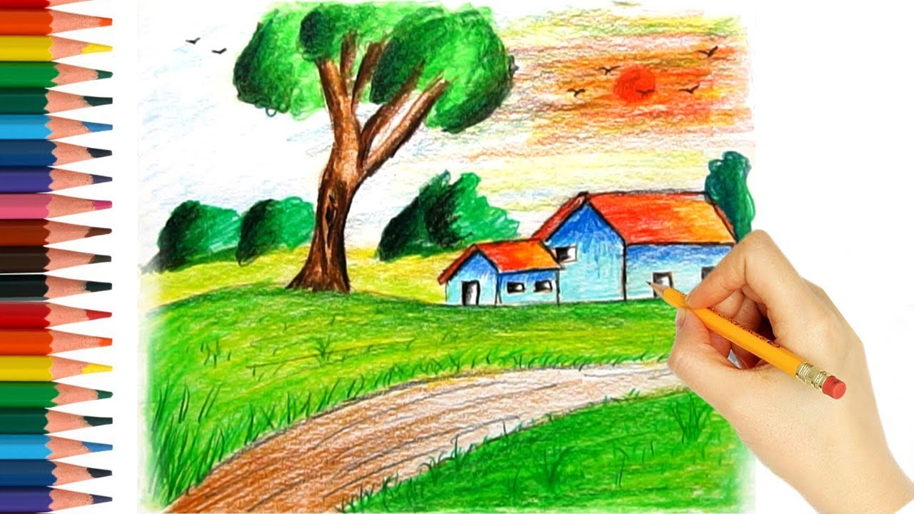 Natural Color Pencil Drawing For Beginners Step By Step Coloring For Kids Youtube
