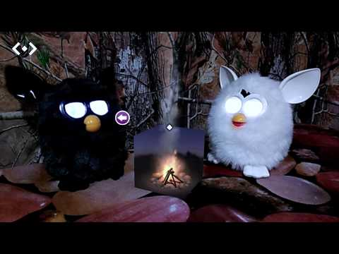 STORMY Black Furby With White CLOUD Furby And A MERGE Cube Bonfire