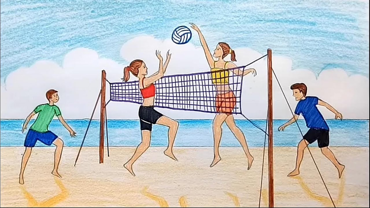 How To Draw Scenery Of Girls And Boys Playing Volleyball On The Beach Youtube