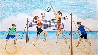 How to draw scenery of girls and boys playing volleyball on the beach