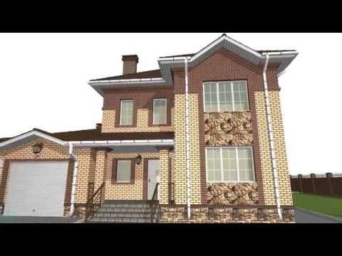 Проект хорошего двухэтажного дома с гаражом   D-025-ТП