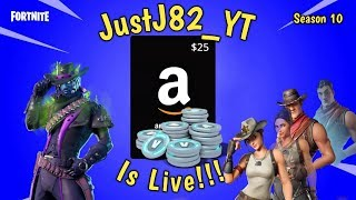 FORTNITE SEASON 10-$25 Amazon Code giveaway @700 Subs.__. Solo 's duo's squads