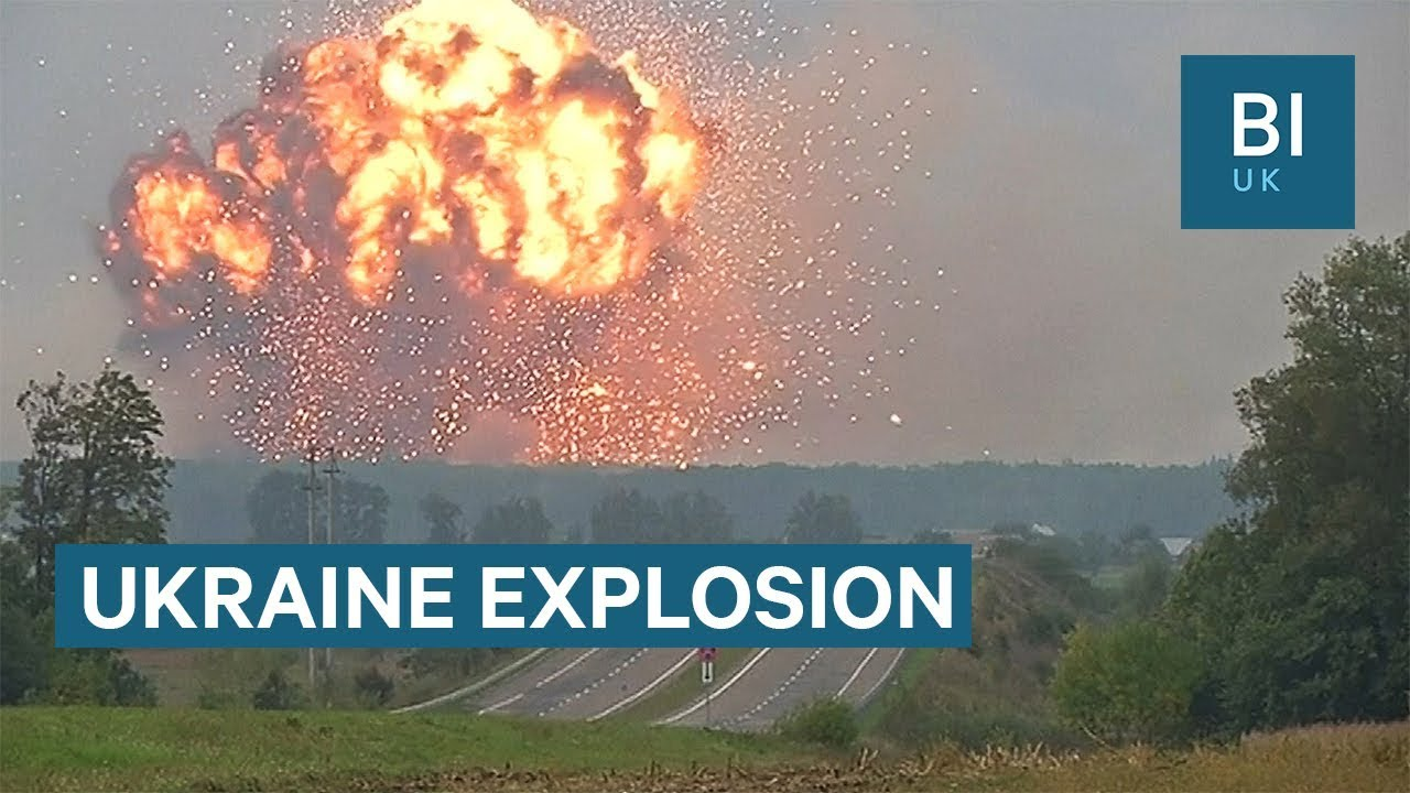 Dramatic video shows Ukrainian ammunition store exploding