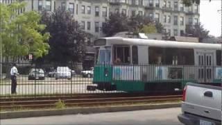 HD MBTA Green Line Trolleys on Commonwealth Ave.