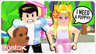 The Spoiled Rich Girl Made Her Boyfriend Buy Her a Puppy... Adopt Me Roblox Roleplay Update