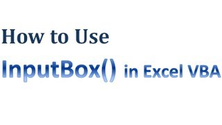 Excel VBA Tips n Tricks 46 How to Use InputBox