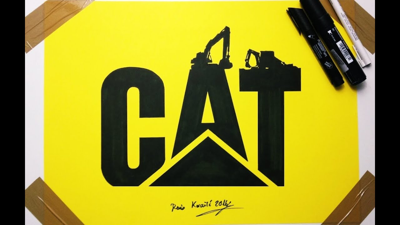 Cat caterpillar logo drawing fan art redesign by denis