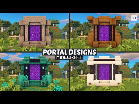 Minecraft : How to Build a Nether Portal Design   Small & Simple