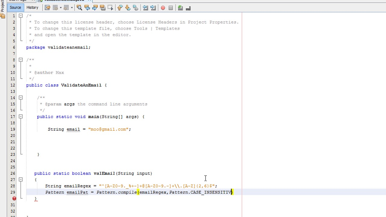 Java Validation Validating An Email Youtube
