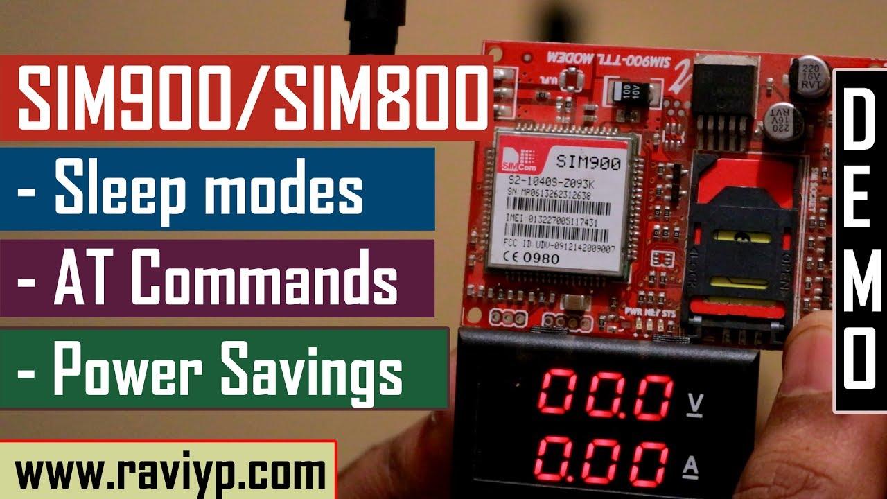 SIM900/SIM800 Sleep mode AT commands - Live Demo