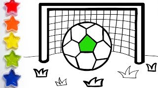 Glitter Soccer ball football coloring pages Learn Colors for kids Toy Art Kids Learn Colors