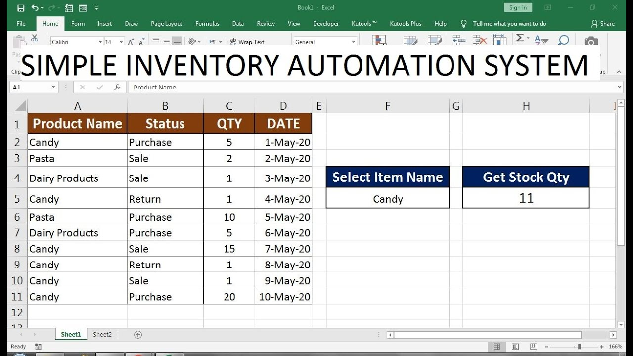 An inventory system is a strategy for keeping track of the stock that a business has on hand. Simple Inventory Template Youtube