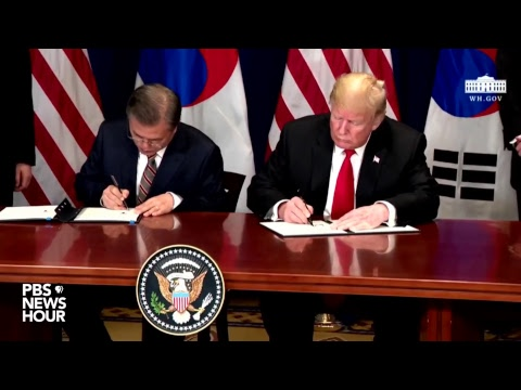 Watch President Trump Expected To Sign Free Trade Agreement Between