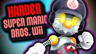 What happens when a ROBOT plays a HARD MODE HACK?   HarderSMBW Hint Movies 1/2